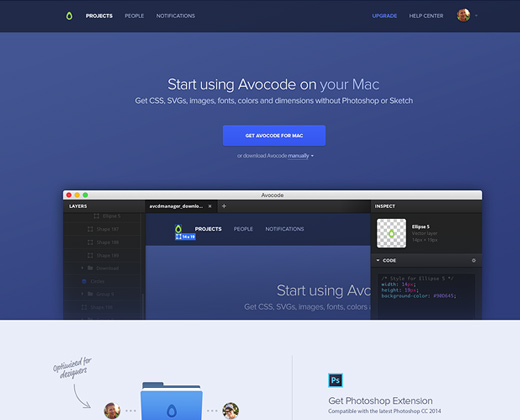 avocode blue simple landing page