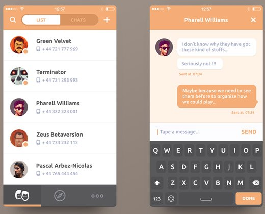 33 clean chat interfaces for mobile app designers bittbox