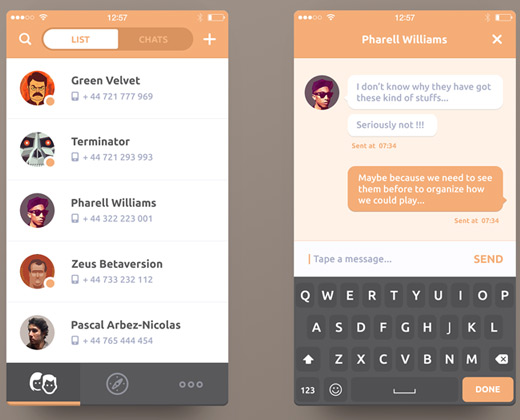 33 clean chat interfaces for mobile app designers Design your room app