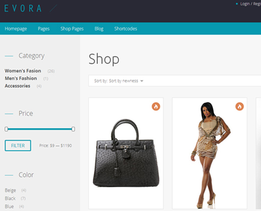 evora responsive woocommerce theme wordpress