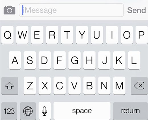 ios8 keyboard small camera icon