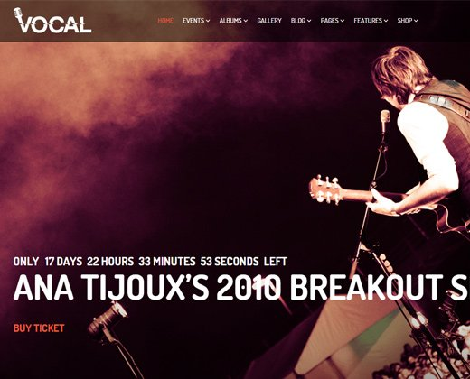 vocal events wordpress theme music