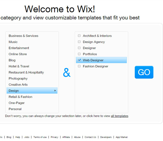 wix category selection form