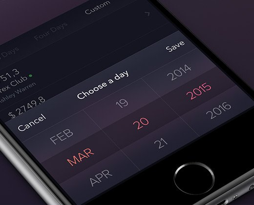 dark ios date picker ui