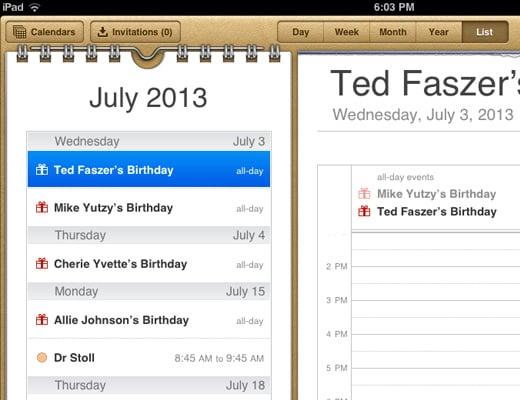 ipad skeuomorphism app calendar ios ui design