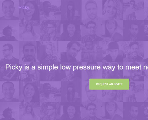 picky homepage design purple