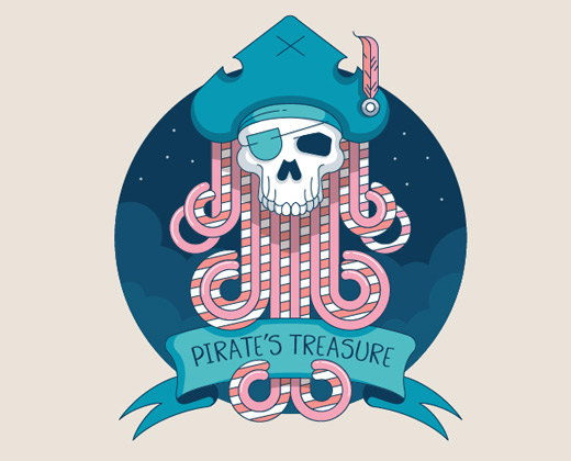 pirate treasure illustration logo