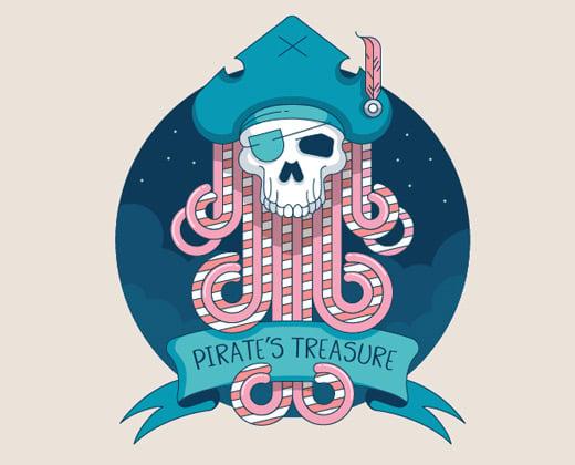 pirate treasure illustration logo