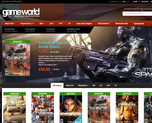 game world shopify theme premium