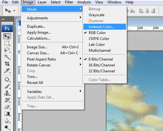 indexed color menu photoshop