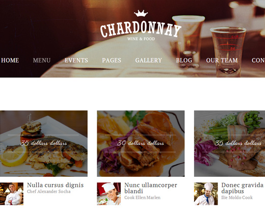 chardonnay responsive wordpress restaurant theme fancy