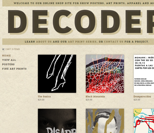 the decoder ring website retro design