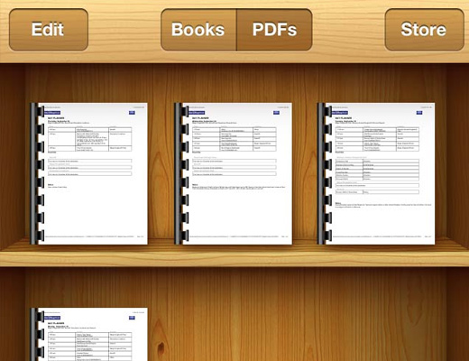 iphone ibooks book shelf app design skeuomorphic