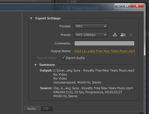 adobe media encoder mp3 output settings