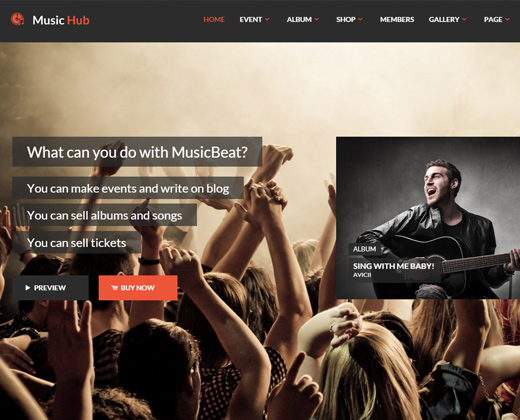 musichub wordpress club party theme