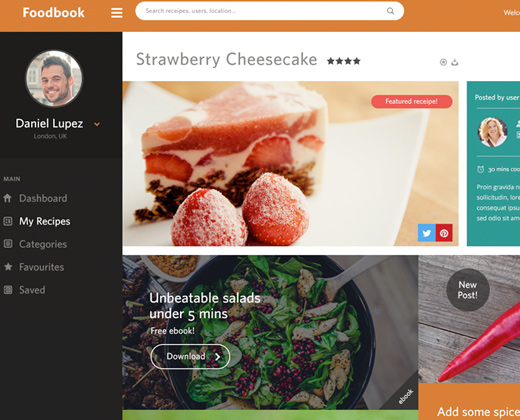 cooking recipes dashboard ui
