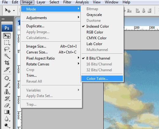 image color table menu generator