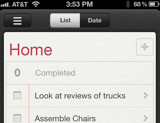 ios5 reminders app dark leather texture ui