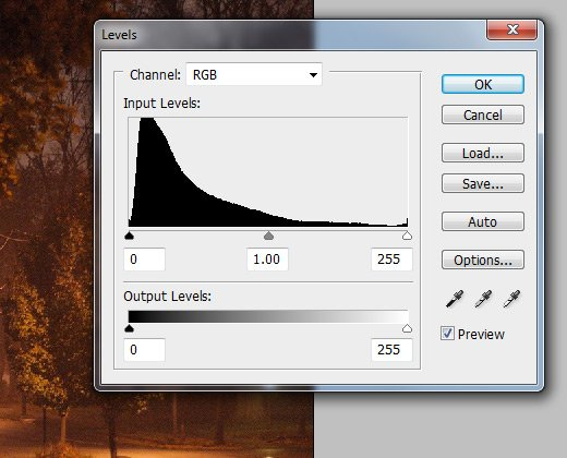 adjustment levels histogram