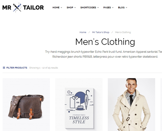 mr tailor retina responsive wordpress ecommerce theme