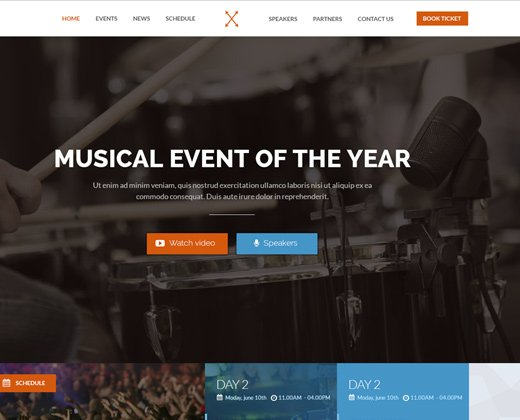 music event landing page website design