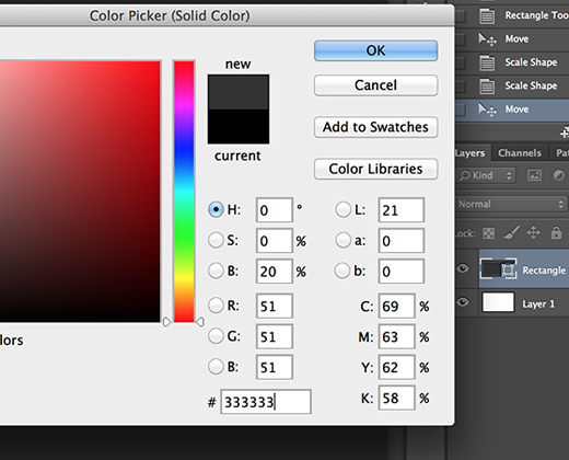 photoshop update shape fill color