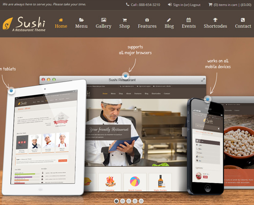 sushi restaurant responsive theme wordpress