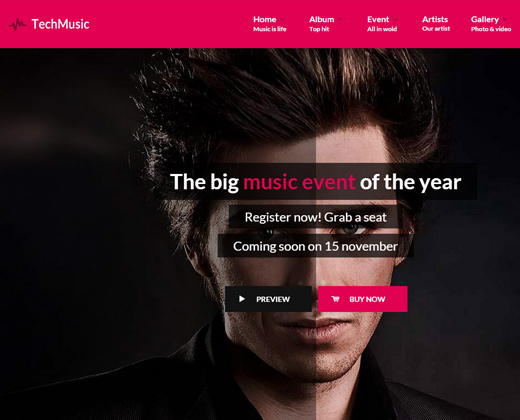 tech music club band party wordpress theme