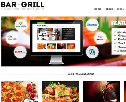 bar and grill wordpress restaurant theme