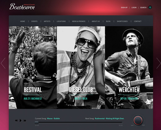 beat heaven music wordpress theme layout