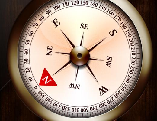 compass app ios6 ui skeuomorphic design