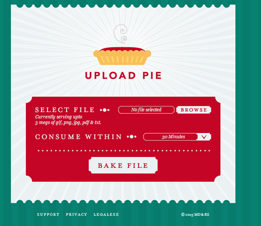 upload pie retro webapp uploading ui