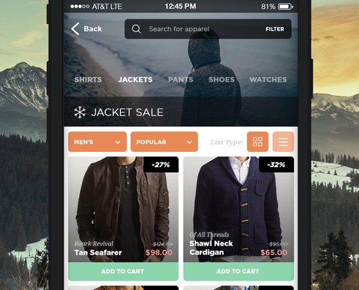 simple mobile app clothing