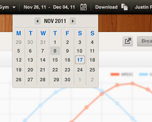 wooden calendar date picker ui