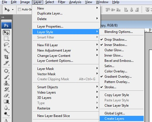 layer styles create layers menu