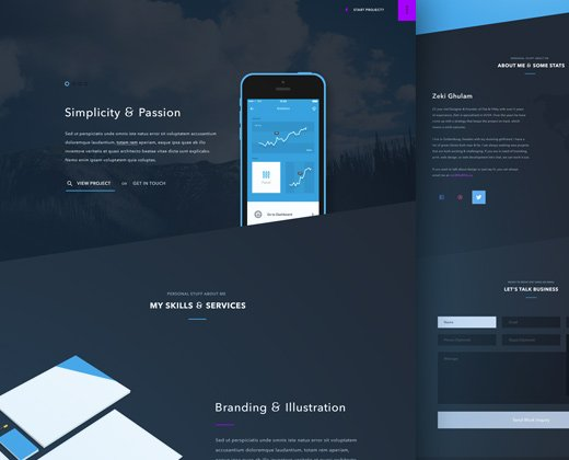 dark blue freelance portfolio website
