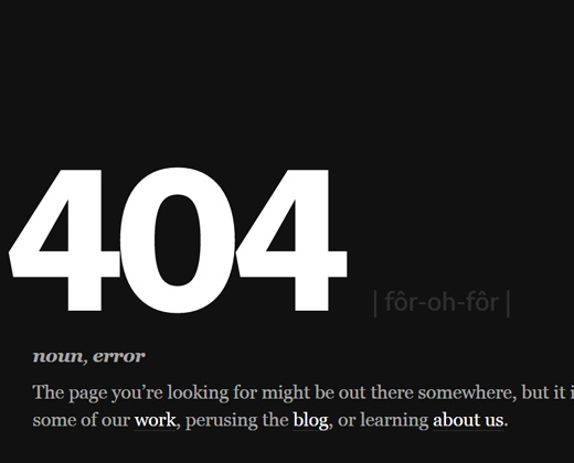 type code 404 error page design