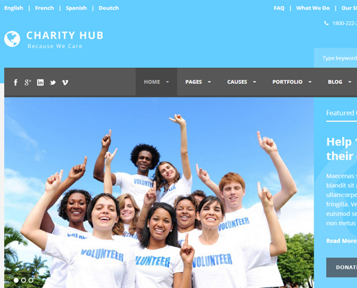 charity hub nonprofit theme blue colors