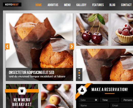 koyorest responsive retina restaurant theme