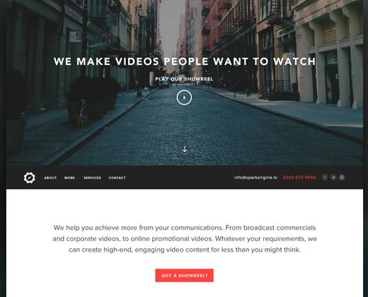 spark engine homepage website design
