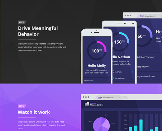 jiff black blue purple landing page