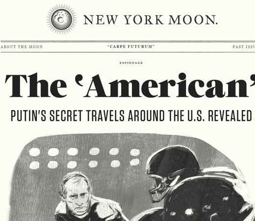 new york moon retro newspaper website layout