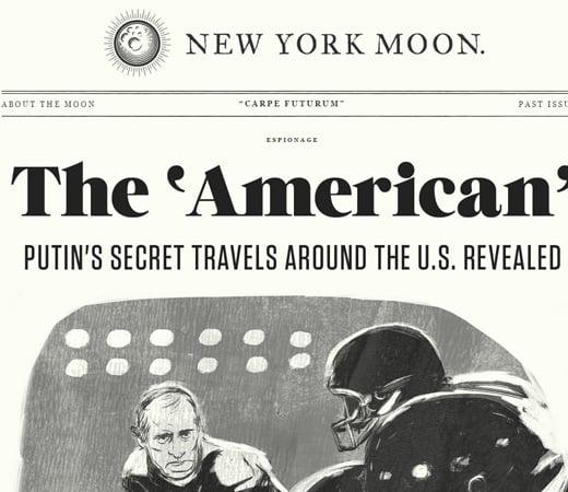 new york moon retro newspaper website layout