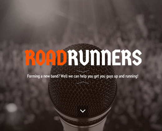 roadrunners one page music wordpress theme