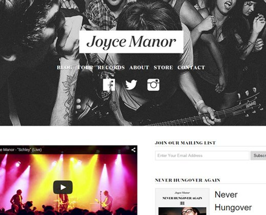 joyce manor website band design