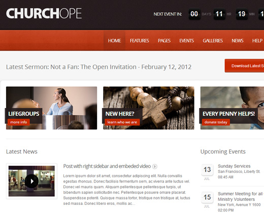 church hope premium wordpress theme