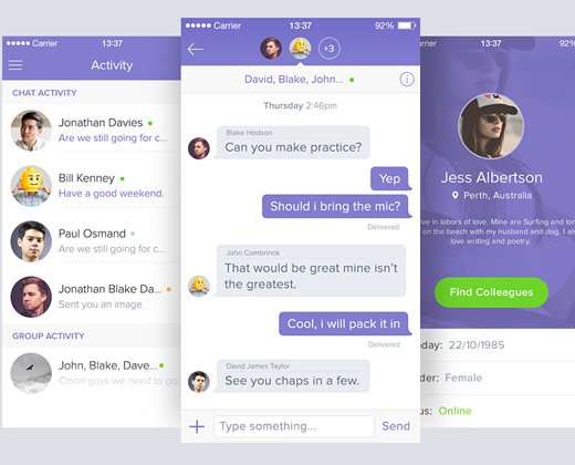 iphone group chat ui design