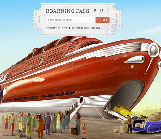 shipment app landing page design retro