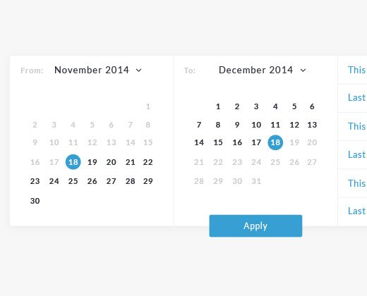 date range select calendar
