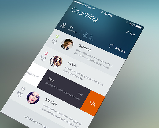 coaching ios flat ui concept app